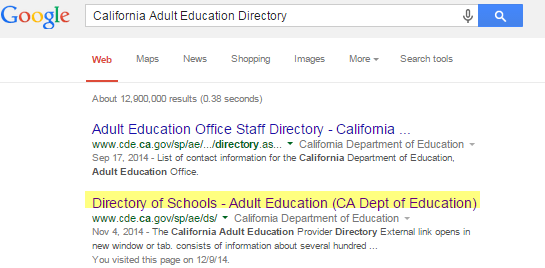 Photo of Google Search for Adult Ed Schools