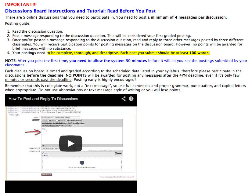 Screenshot of discussion forum instructions from an online class